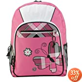 17 inch American Princess Pink Plaid Butterfly Student Backpack