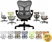 Mirra Chair Herman Miller Deluxe Fully Highly Adjustable Home Office Desk Task Chair with Graphite Frame with Dark Graphite Airweave Seat and TriFlex Backrest, Standard Casters