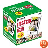 Fujifilm Instax Mini Instant Film, 10 Sheets x 5 packs