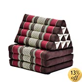 Three-fold Thai mattress with triangle cushion (Brown, Red), Kapok