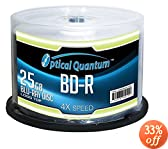 Optical Quantum OQBDR04LT-50 4X 25 GB BD-R Single Layer Blu-Ray Recordable Logo Top 50-Disc Spindle