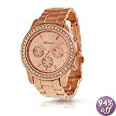 Memorial Day Geneva Rose Gold Plated Classic Round CZ Stainless Steel Back Ladies Boyfriend Watch