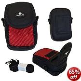 Case4Life Red/Black Nylon Soft Shockproof Splashproof Digital Camera Case Bag for Fujifilm Finepix AV, AX, F, JX, JV, JZ, L, T, XP, Z Series inc AX650, JV500 - Lifetime Warranty