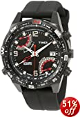 Timex Men's T49865 Intelligent Quartz Fly Back Chrono Compass Black Silicone Strap Watch