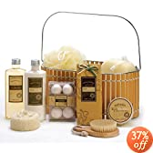 Spicy Warm Vanilla Spa Bath Body Bamboo Gift Basket (Gift Basket golden)