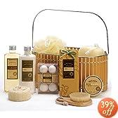 Spicy Warm Vanilla Spa Bath Body Bamboo Gift Basket (Gift Basket golden)