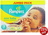 Pampers New Baby Size 3 (9-15 lbs/4-7 kg) Jumbo Pack of 74 Nappies