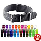18mm Nato Ss Nylon Solid Black Interchangeable Replacement Watch Strap Band