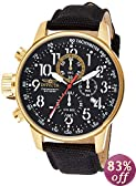 Invicta Men's 1515 I Force Collection 18k Gold Ion-Plated Stainless Steel Watch with Black Cloth-Covered Band