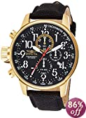 Invicta Men's 1515 I Force Collection 18k Gold Ion-Plated Stainless Steel Watch with Black Cloth-Covered Leather Band