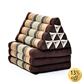 Three-fold Thai mattress with triangle cushion (Brown, Dark Brown, Light Brown), Kapok