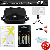Essential Accessories Kit For GE POWER Pro series X500, X5, Power Pro X550 Digital Camera Includes USB 2.0 High Speed Card Reader + 4AA High Capacity Rechargeable NIMH Batteries And AC/DC Rapid Charger + Deluxe Carrying Case + LCD Screen Protectors + More