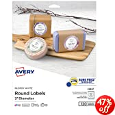 Avery Easy Peel Permanent Print-To-The-Edge Round Labels, Laser/InkJet, 2-Inch, Glossy White, Pack of 120 (22807)
