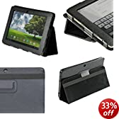 """iGadgitz Black 'Portfolio' PU Leather Case Cover for Asus Eee Pad Transformer TF101 TF101G 10.1"""" 3.0 Android Tablet"""