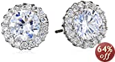 """CZ by Kenneth Jay Lane """"Traditional"""" Round Cubic Zirconia with Pave Trim Stud 6 Cttw Earrings"""