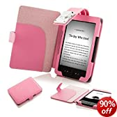 """Forefront Cases NEW KINDLE 4 Pink Leather Case Cover with LED NIGHT READING LIGHT For New Amazon Kindle 4 / Wi-Fi 6"""" / Latest Generation October 2011 / New Kindle 4 WiFi"""