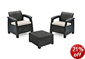 Keter Corfu 2 Seater Set  - Graphite with Cream Cushions