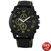 Breda Men's 8135-Yellow Colton Black Bezel Yellow Accented Silicone Watch