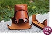 COSMOS Brown Leather Case Cover Bag For Nikon J1 + Cosmos cable tie