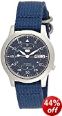 Seiko 5 Men's Automatic Watch with Black Dial Analogue Display and Blue Fabric Strap SNK807K2