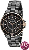 Stuhrling Original Unisex 374.13OB114 Leisure Ceramic Nirvana Quartz Date Black Rose Tone Bezel Ceramic Watch