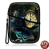 "Neoprene Super Padded Bubble Sleeve Case Cover with Extra Pocket for Accessories & Removable Carrying Handle Fits Apple iPad Mini / Amazon Kindle Fire HD / Google Nexus 7 / Samsung Galaxy / Asus / Acer / Archos and Similar Size 7"" Tablet - Clock Butterfly Design"