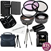 Canon T3 Accessory Saver Kit (58mm Wide Angle Lens + 58mm 2X Telephoto Lens + 58mm 3 Piece Filter Kit + 32GB SDHC Memory + Extended Life Battery + Ac/Dc Charger + USB Card Reader + Deluxe Camera Case w/Strap + Full Size Tripod + Microfiber Cleaning Cloth + LCD Screen Protectors + Mini Tripod