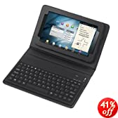 """RioRand® Wireless Bluetooth Keyboard + Leather Case Stand for 7"""" Samsung Galaxy Tab P3100, P3110, P6200, P6210"""