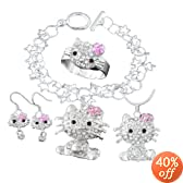 Fashion Jewelry ~ Silvertone Hello Kitty Kid's Jewelry Set (Necklace Bracelet Earrings Ring)