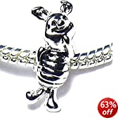 Charm Buddy Childrens Girls Kids Winnie the Pooh Bear Piglet Charm Bead Fits Pandora Troll Bracelets