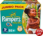 Pampers Baby-Dry Size 5+ (29-59 lbs/13-27 kg) - Jumbo Pack of 66 Nappies