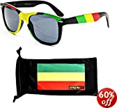 Style Vault W54-rp Rasta 80s Sunglasses Black/yellow/red W Microfiber Pouch