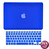 TopCase 2-in-1 Rubberized Hard Case and Keyboard Cover for Macbook White 13-Inch - A1342/Latest - with TopCase Mouse Pad - Royal Blue