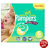 Pampers Baby-Dry Size 6 (35+ lbs/16+ kg) Nappies - Jumbo Pack of 62 Nappies