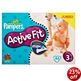 Pampers Active Fit Size 3 (9-20 lbs/4-9 kg) Nappies - Jumbo Pack of 84 Nappies