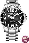 Stuhrling Original Men's 395.33B11 Aquadiver Regatta Champion Professional Diver Swiss Quartz Date Black Bezel Watch