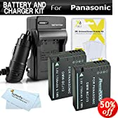 2 Pack Battery And Charger Kit For Panasonic Lumix DMC-LX7, DMC-LX7K, DMC-LX7W, DMC-LX5 Digital Camera Includes 2 Extended Replacement (1700Mah) DMW-BCJ13 Batteries (WITH INFO CHIP!) + Ac/Dc Travel Charger + Screen Protectors +. Battery Shows time on LCD!