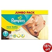 Pampers New Baby Size 1 (4-11 lbs/2-5 kg) Jumbo Pack of 74 Nappies