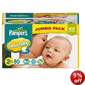 Pampers New Baby Size 2 (6-13 lbs/3-6 kg) Jumbo Pack of 80 Nappies