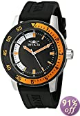 Invicta Men's 12848 Specialty Black Dial Watch with Orange/Black Bezel