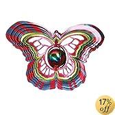 Iron Stop Gazing Ball Butterfly Wind Spinner - D1515-10