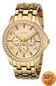 """GUESS Women's U0147L2 """"Polished Glamour"""" Gold-Tone Watch with Crystal Bezel"""