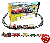 Continental Express Toy Train Set Battery Operated - 16pc with Coal Tender/Passenger Wagon/Fuel/Cargo Wagon/Animal Wagon