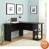 Ameriwood Office L-Shaped Desk with 2 Shelves 9354303PCOM, Dark Cherry