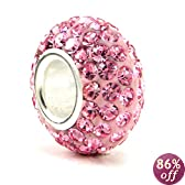 Sterling Silver Pink Crystal Ball Bead Charm