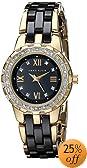Anne Klein Women's 10/9456BKGB Ceramic Swarovski Crystal Accented Gold-Tone and Black Ceramic Bracelet Watch