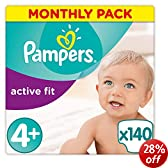 Pampers Active Fit Size 4+ (Maxi+) Monthly Pack--140 Nappies