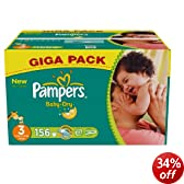 Pampers Baby-Dry Size 3 (9-20 lbs/4-9 kg) Nappies - Pack of 156 Nappies