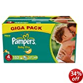 Pampers Baby-Dry Size 4 (15-40 lbs/7-18 kg) Nappies - Pack of 132 Nappies