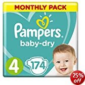 Pampers Baby Dry Size 4 Maxi Monthly Pack--174 Nappies